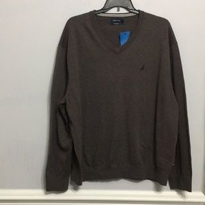 New NAUTICA Men Sweater Hunter Brown 3XL MSRP $68